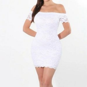Ambiance White Off Shoulder Lace Dress